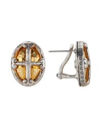 Gurhan | Metallic Women's Rose-tone 24k Yellow Gold Sterling Silver Cross Earrings | Lyst