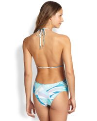 Emilio Pucci - Blue One-Piece Plunging Swimsuit - Lyst