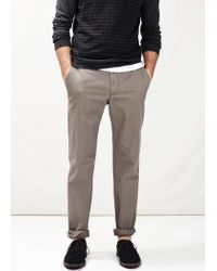 Mango - Gray Straight-Fit Cotton Chinos for Men - Lyst