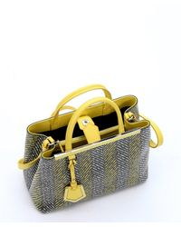 Fendi | White Lime Chevron Print Spalmati '2Jours' Tote Bag | Lyst