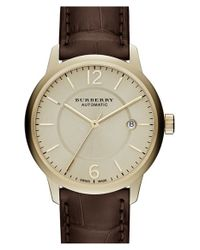 Burberry | Metallic Automatic Alligator Leather Strap Watch | Lyst