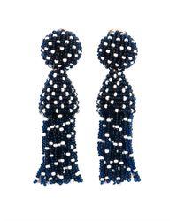 Oscar de la Renta | Blue Polka Dot Beaded Tassel Earrings | Lyst