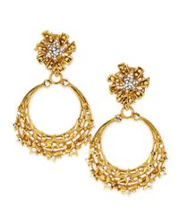 Jose & Maria Barrera - Blue Glittering Golden Star Clip Earrings - Lyst
