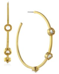 Vince Camuto | Metallic Gold-Tone Glass Stone Hoop Earrings | Lyst