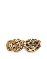 Erickson Beamon | Metallic 'heart Of Gold' Gauze Bound Crystal Cuff | Lyst