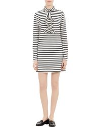 Harvey Faircloth - Gray Stripe Ruffled Shirtdress - Lyst