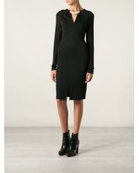 Halston - Black Gold-Tone Necklace Detail Fitted Dress - Lyst