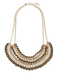 Kenneth Jay Lane - Metallic Gold And Rhodium-plated Necklace - Lyst