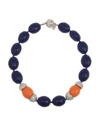 Kenneth Jay Lane - Blue Beaded Resin Necklace - Lyst