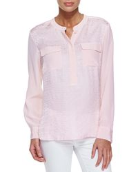 Go> By Go Silk - Natural Jacquard Two-pocket Tunic - Lyst