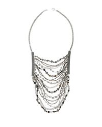 Chan Luu | Gray Multi Stone And Chain Bib Necklace | Lyst