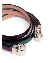 Alexander McQueen | Multicolor Triple Strap Skull Leather Bracelet | Lyst