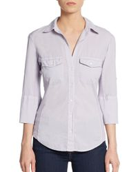 James Perse | Gray Ribbed Panel Button Front Top | Lyst