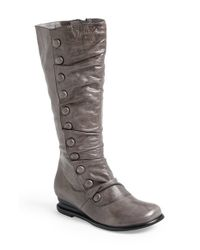 Miz Mooz | Gray Bloom Buttoned Leather Boots | Lyst