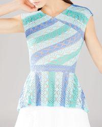 BCBGMAXAZRIA | Blue Heidy Lace Peplum Top | Lyst
