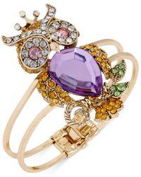 Betsey Johnson - Gold-Tone Purple Owl Hinge Bangle Bracelet - Lyst