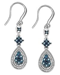 Macy's | Metallic Diamond Teardrop Earrings In Sterling Silver (1/10 Ct. T.w.) | Lyst