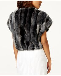 Tahari | Gray Faux-fur Bolero Shrug | Lyst
