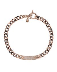 Michael Kors | Pink Curb-chain Plaque Necklace | Lyst