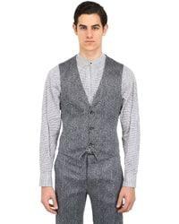 Giorgio Armani | Gray Stretch Silk Seersucker Chevron Vest for Men | Lyst