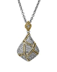 Lord & Taylor | Metallic Sterling Silver With 14kt. Yellow Gold Diamond Pendant Necklace | Lyst