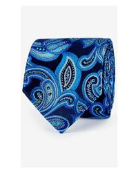 Express | Paisley Narrow Silk Tie - Cobalt Blue for Men | Lyst