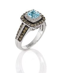 Le Vian | Sea Blue Aquamarine And Chocolate Diamond Ring In 14k Vanilla Gold | Lyst
