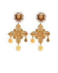 Dolce & Gabbana | Metallic Rose And Charm Embellished Earrings | Lyst