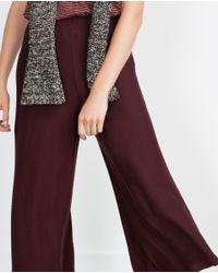 Zara | Purple Cropped Trousers | Lyst