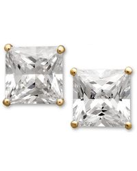 Arabella | Metallic Swarovski Zirconia Princess Cut Stud Earrings (3-3/4 Ct. T.w.) | Lyst