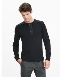Banana Republic | Black Waffle-knit Henley for Men | Lyst