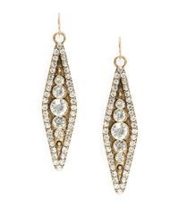 Panacea | Metallic Rhinestone Linear Drop Earrings | Lyst