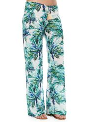 Pilyq - Blue Carter Palm-tree-print Coverup Pants - Lyst