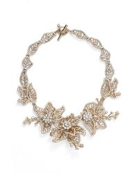 Marchesa | Metallic Large Crystal Leaf Collar Necklace | Lyst