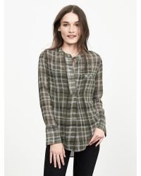 Banana Republic | Green Sheer Plaid Blouse | Lyst