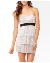 Forever 21 | Tiered Metallic Tube Dress | Lyst