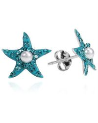 Aeravida | Blue Cubic Zirconia Starfish Pearl Centered .925 Silver Stud Earrings | Lyst