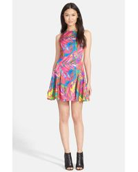MILLY - Multicolor Feather Print Dress - Lyst