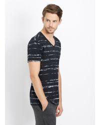 Vince | Black Slub Cotton Shadow Stripe V-neck Tee for Men | Lyst