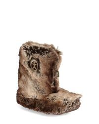Bedroom Athletics | Brown 'cole' Faux Fur Bootie Slipper | Lyst