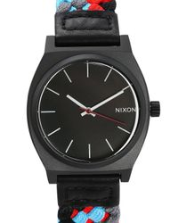 Nixon   Woven Black And Red Time Teller Watch for Men   Lyst