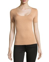 Michael Kors - Orange Scoop-neck Short-sleeve Cashmere Top - Lyst