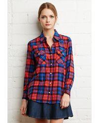 Forever 21 | Red Tartan Plaid Snap-button Shirt | Lyst