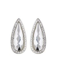 Mikey - White Slim Oval Marquise Stud Earring - Lyst