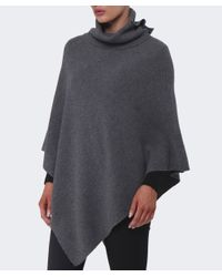 Cocoa Cashmere | Gray Ribbed Cashmere Poncho | Lyst