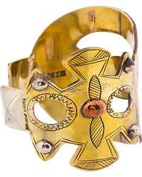KTZ - Metallic Gold Metal Patchwork Cuff for Men - Lyst