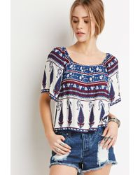 Forever 21 - Blue Floral Paisley-striped Top - Lyst