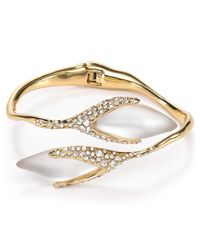 Alexis Bittar - Metallic Lucite Pave Flower Bud Bypass Hinge Bangle - Lyst