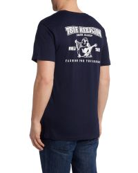 True Religion - Blue Regular Fit Traditional Logo T Shirt for Men - Lyst