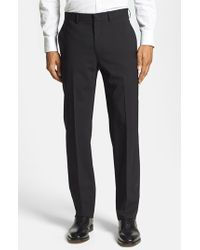 Michael Kors | Black Flat Front Stretch Wool Trousers for Men | Lyst